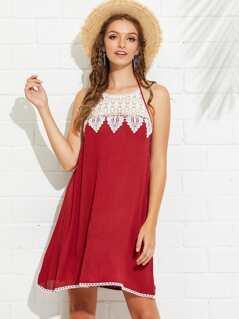 Lace Applique Backless Halter Flowy Dress