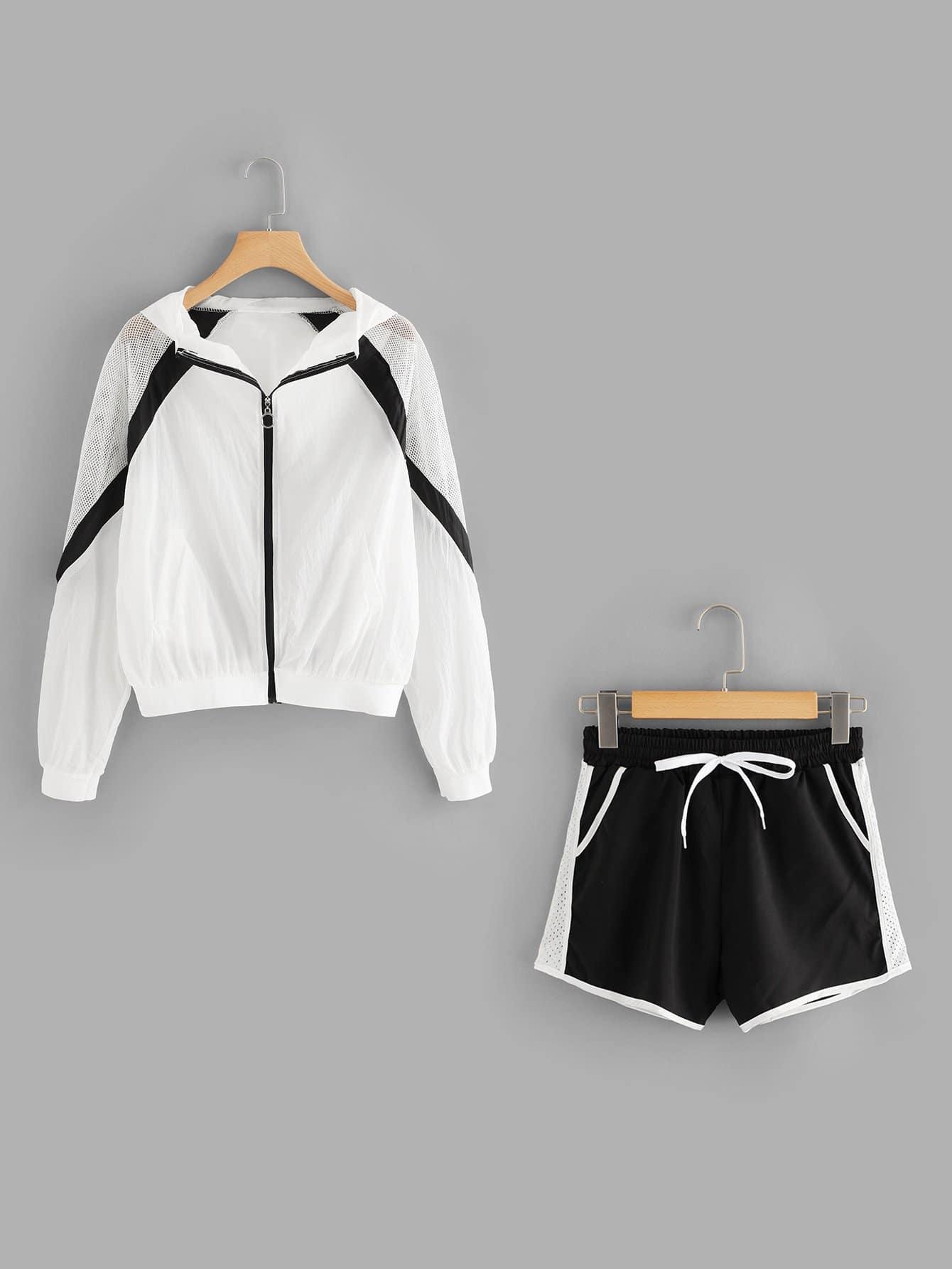 Fishnet Panel Jacket With Tube Insert & Drawstring Shorts Set