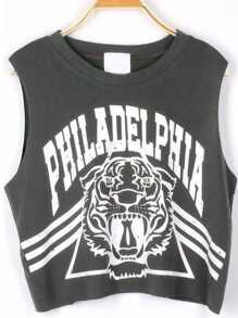 Grey PHILADELPHIA Tiger Print Crop Tank Top