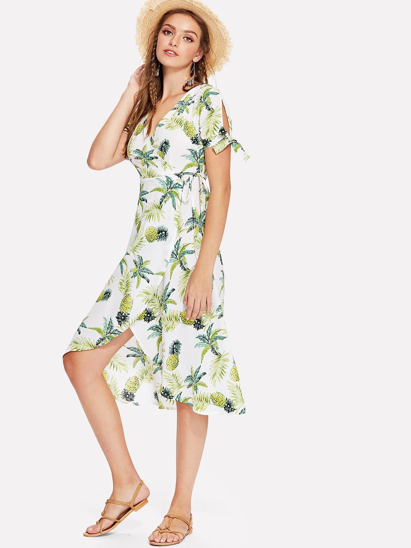 Pineapple Print Knot Wrap Dress wrap knot swimsuit
