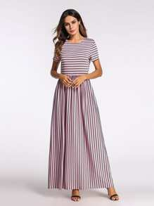 Striped Pocket Detail Dress