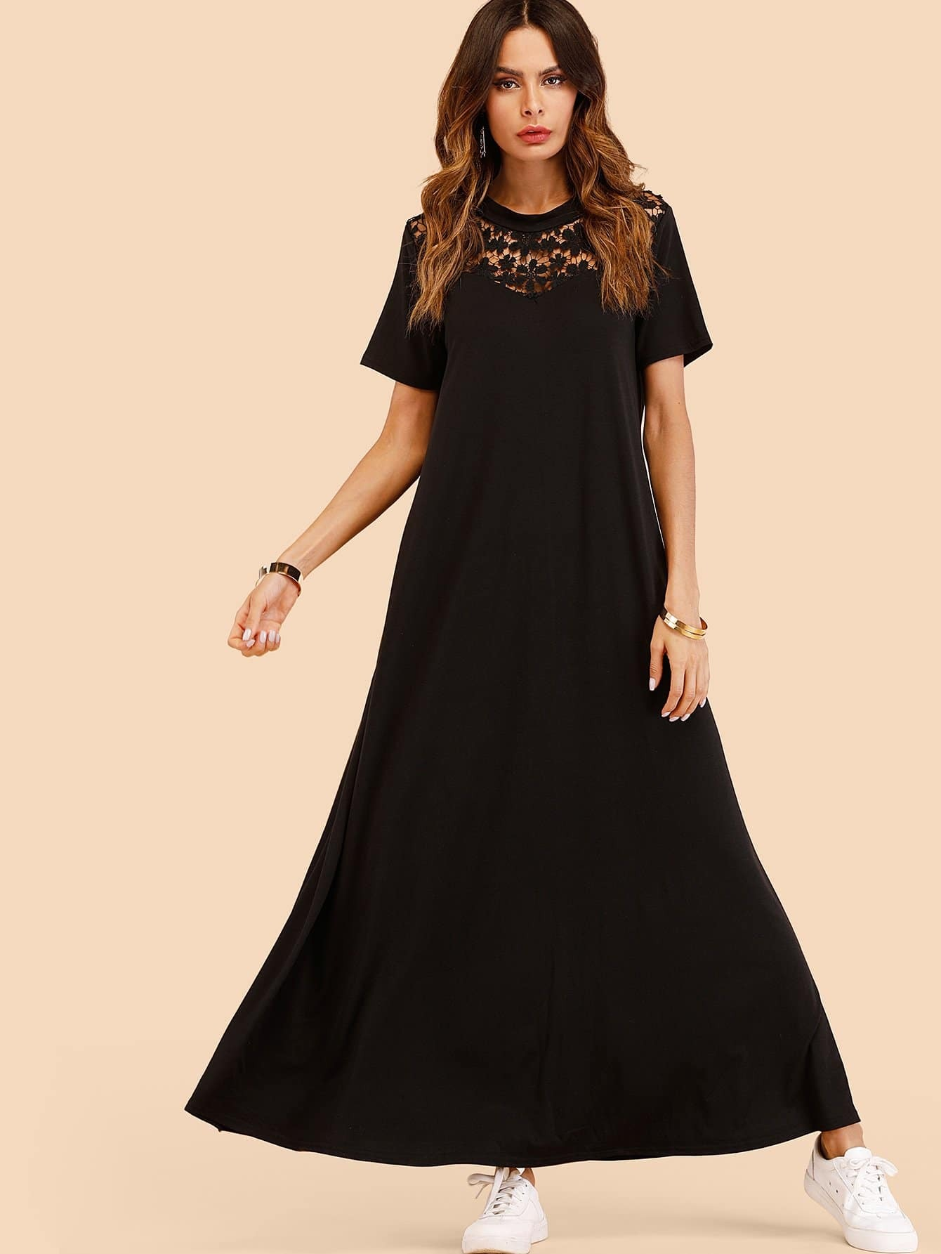 Lace Panel Hollow Out Dress hollow out embroidery panel dress