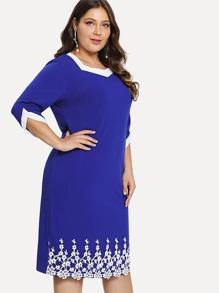 Lace Panel Colorblock Neck Dress