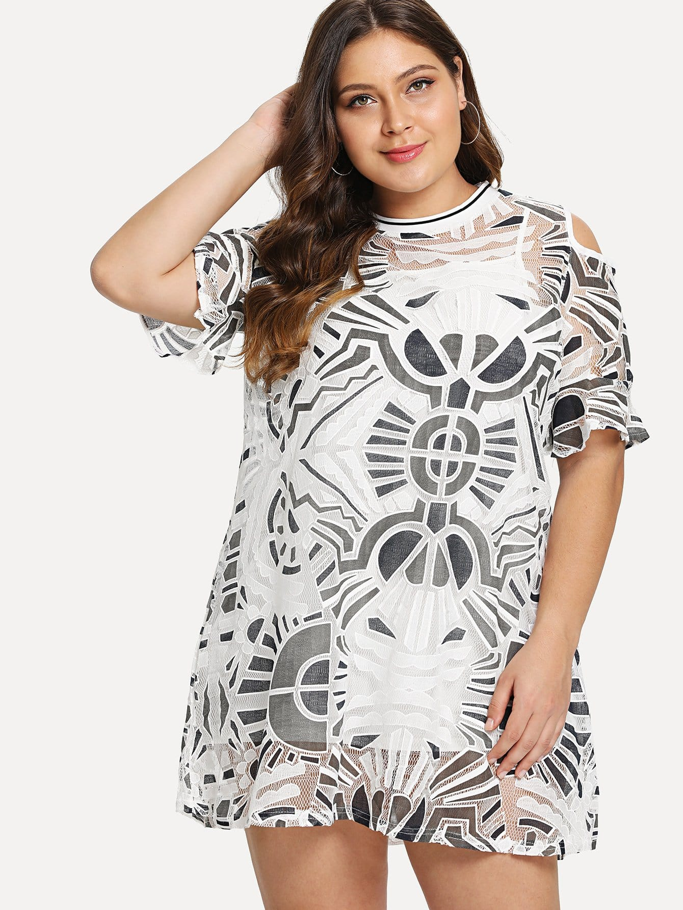 Open Shoulder Geo Print Dress With Cami Top Insert geo print cami with pants
