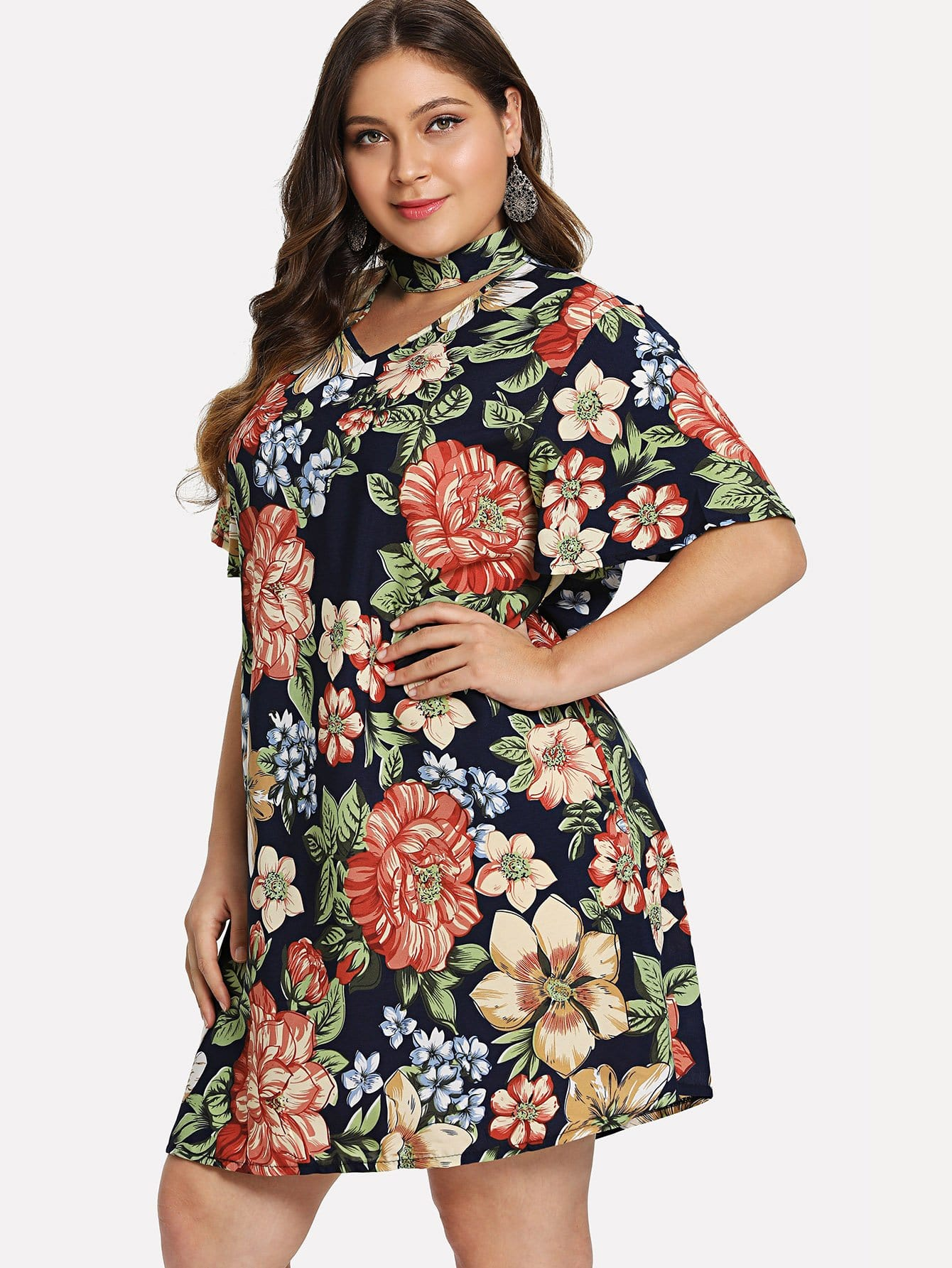 Plus Floral Print Cut Out Dress