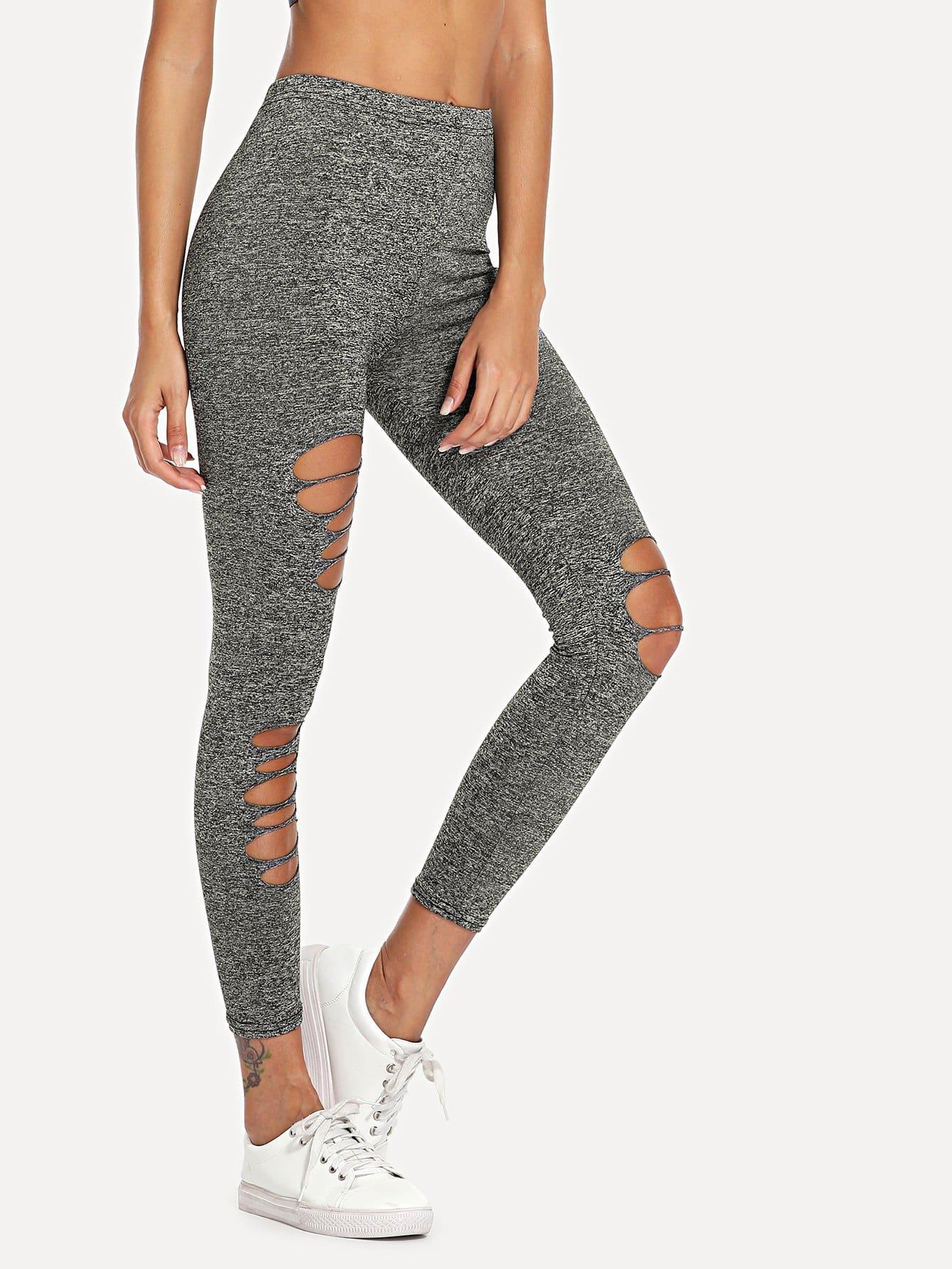 Asymmetrical Ripped Leggings black slim ripped leggings