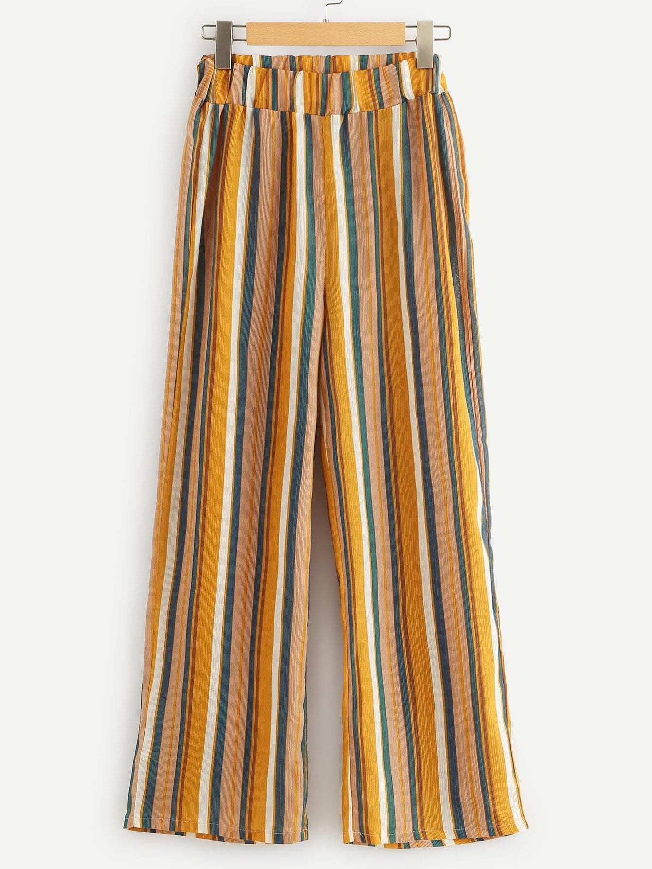 Elastic Waist Striped Pants striped ruffled waist self tie pants