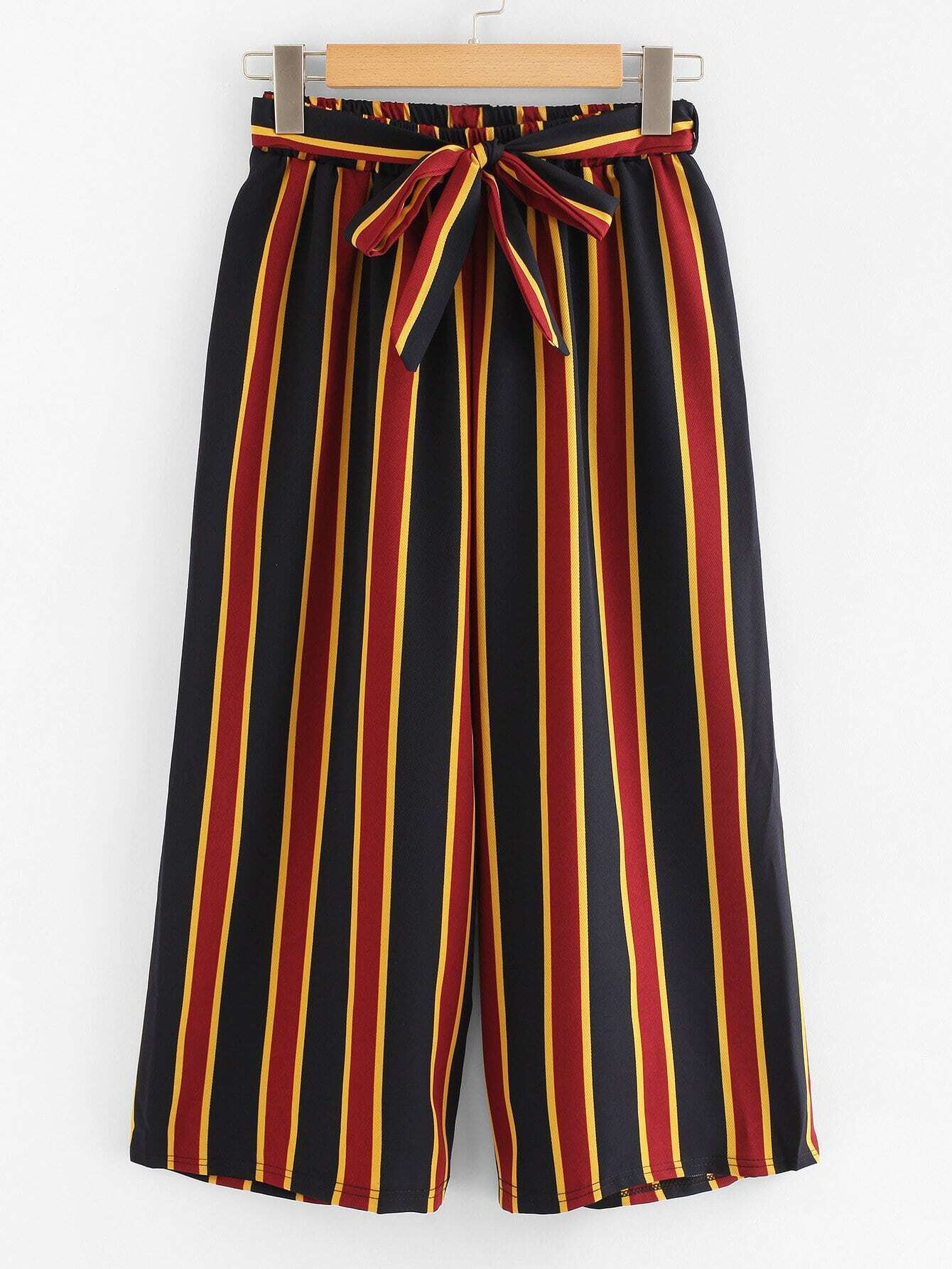 Knot Front Striped Pants knot front fit