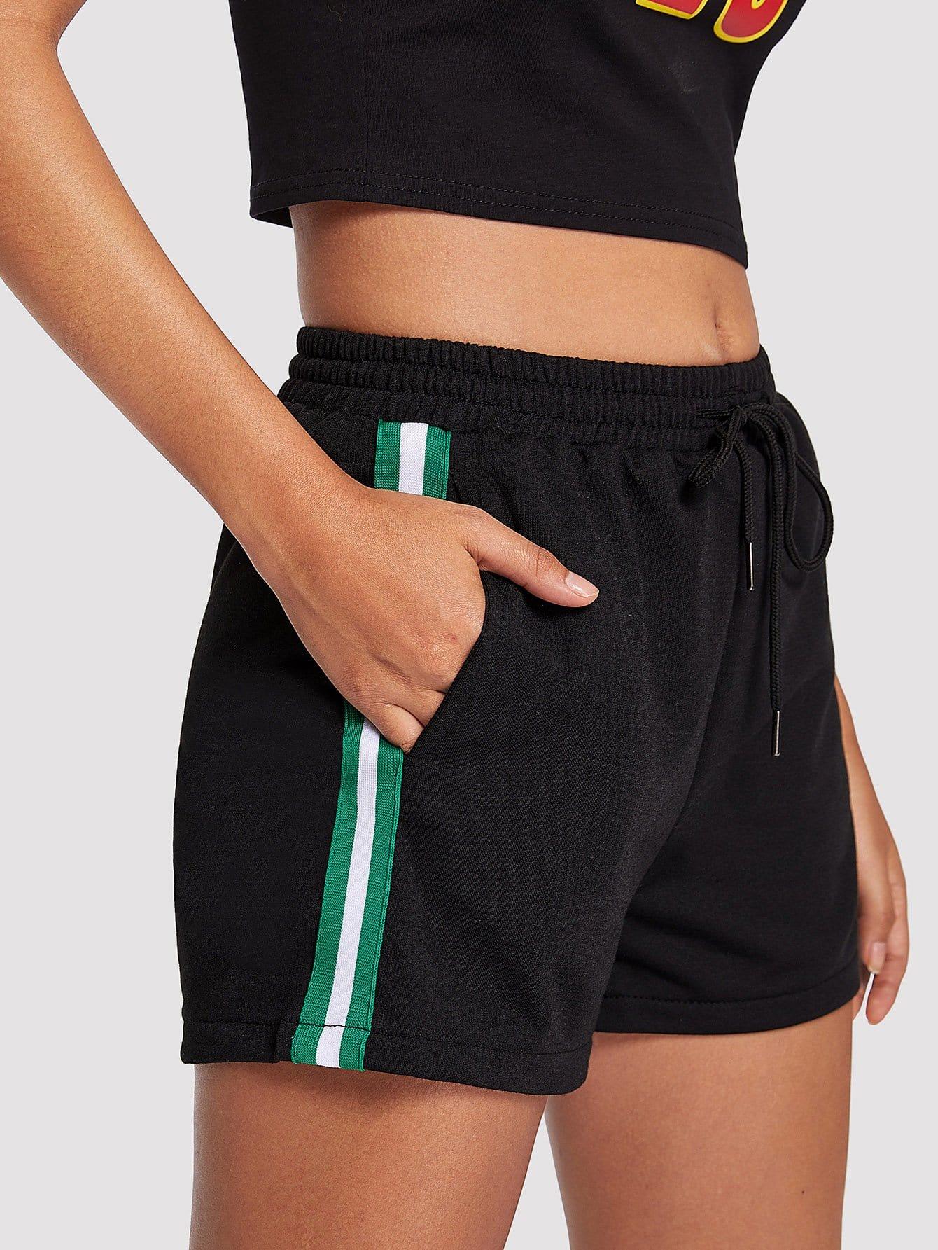 Striped Tape Side Drawstring Waist Shorts men striped tape side drawstring shorts