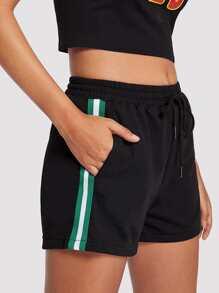 Striped Tape Side Drawstring Waist Shorts