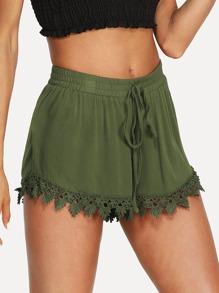 Drawstring Waist Lace Hem Shorts