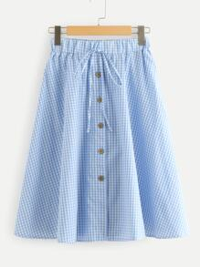 Drawstring Waist Plaid Skirt