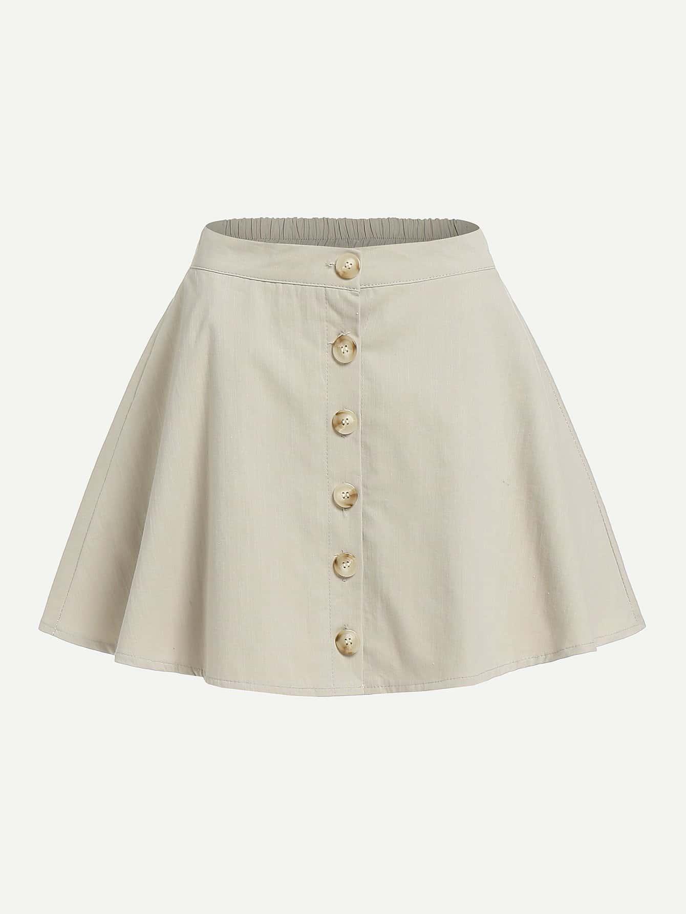 Single Breasted Front Skirt girls single breasted raw hem skirt