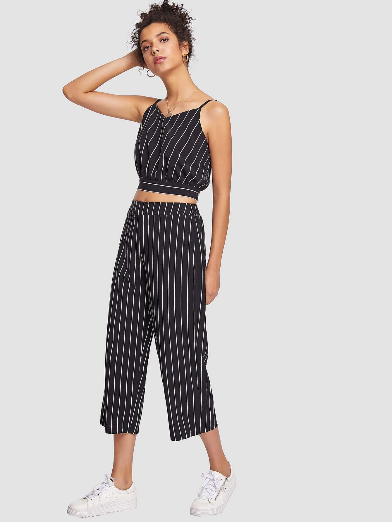 Striped Knot Back Crop Top With Pants zip up back knot plaid top