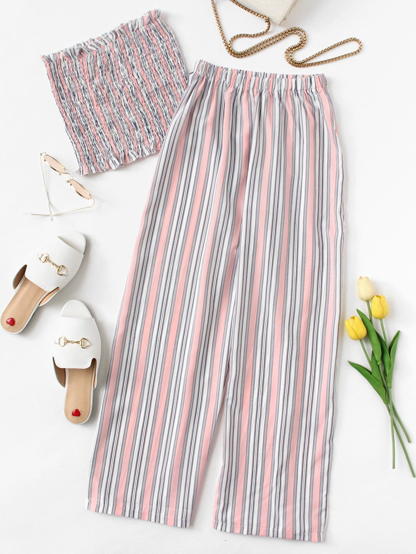 Frill Trim Striped Tube Top With Pants frill trim floral smock tube top