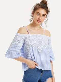 Lace Applique Striped Cold Shoulder Top