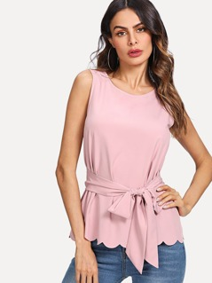 Scallop Hem Self Belted Shell Top