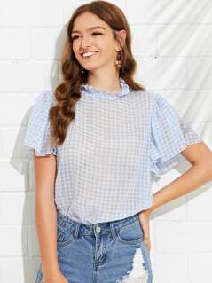 Frill Neck Butterfly Sleeve Gingham Top