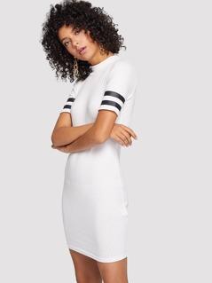Varsity Striped Sleeve Ribbed Dress