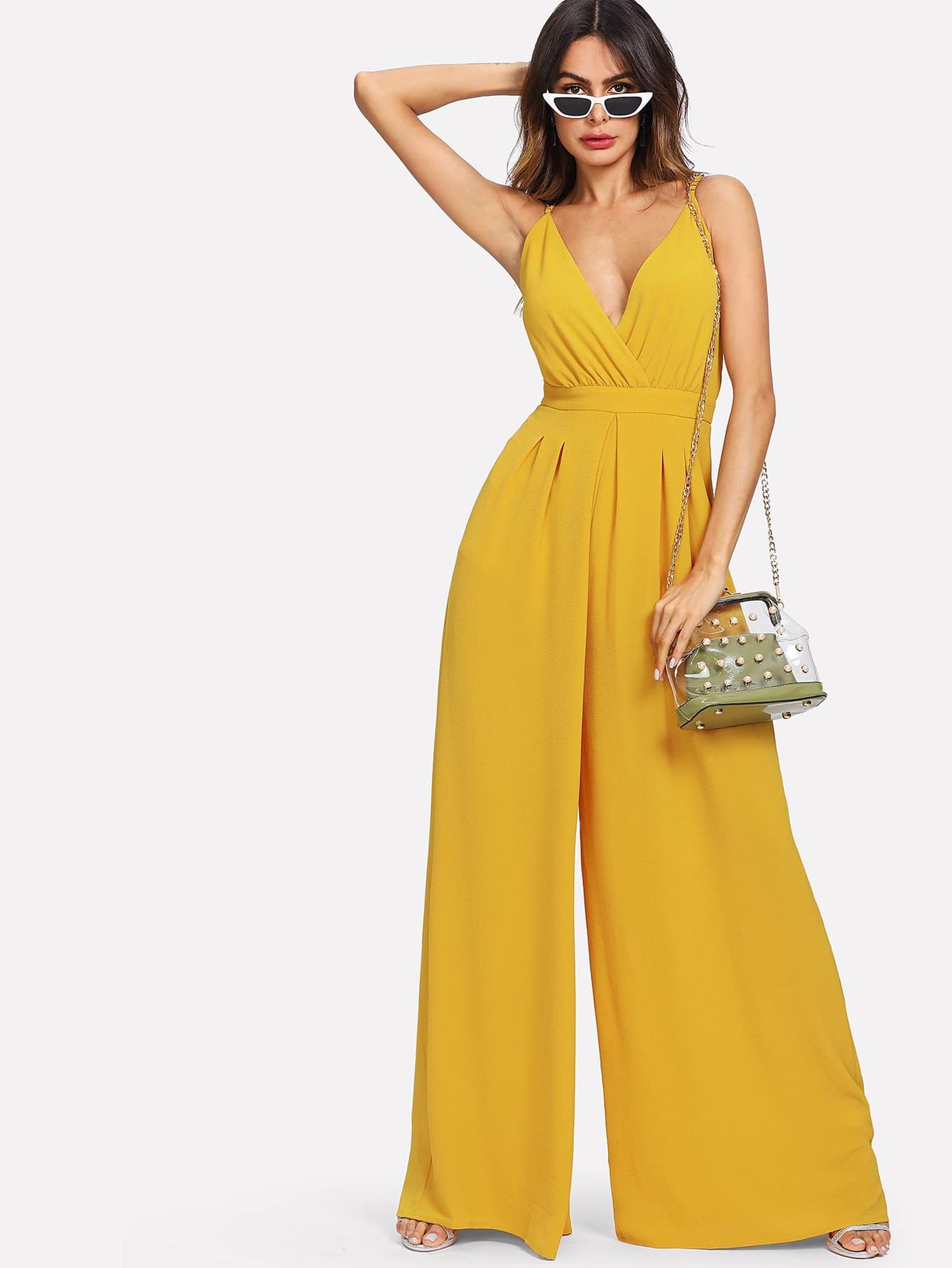 Surplice Front Box Pleated Culotte Leg Cami Jumpsuit surplice neckline self tie cami jumpsuit