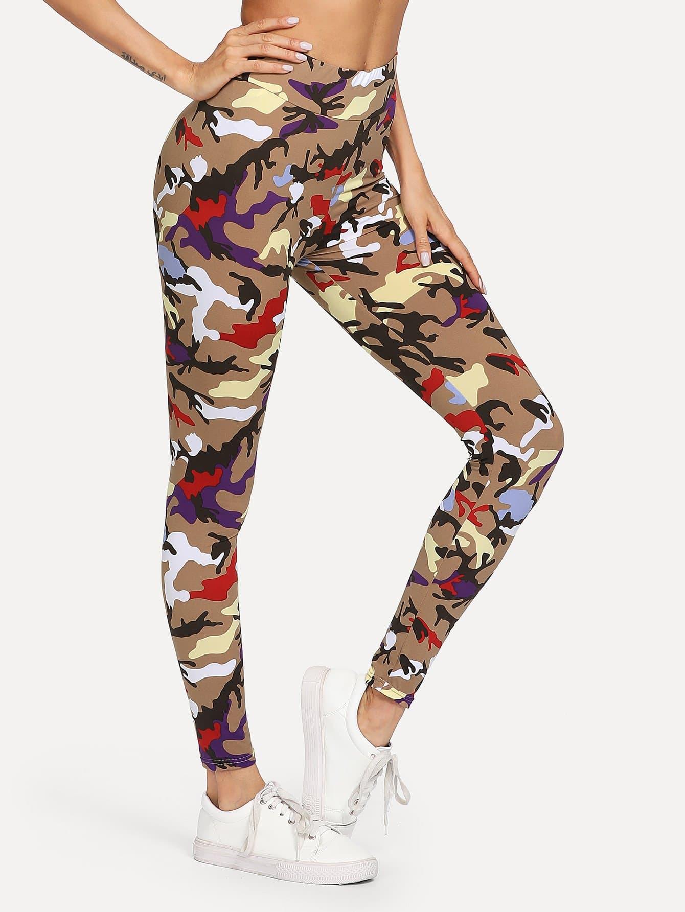 Camouflage Print Leggings camouflage print crop leggings