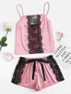 Contrast Lace Panel Satin Cami & Shorts PJ Set