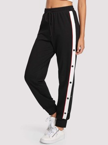 Buttoned Contrast Sideseam Sweatpants SHEIN