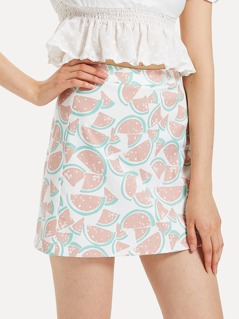 Zipper Back Watermelon Print Skirt