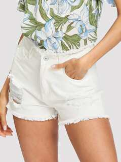 Raw Trim Ripped Denim Shorts