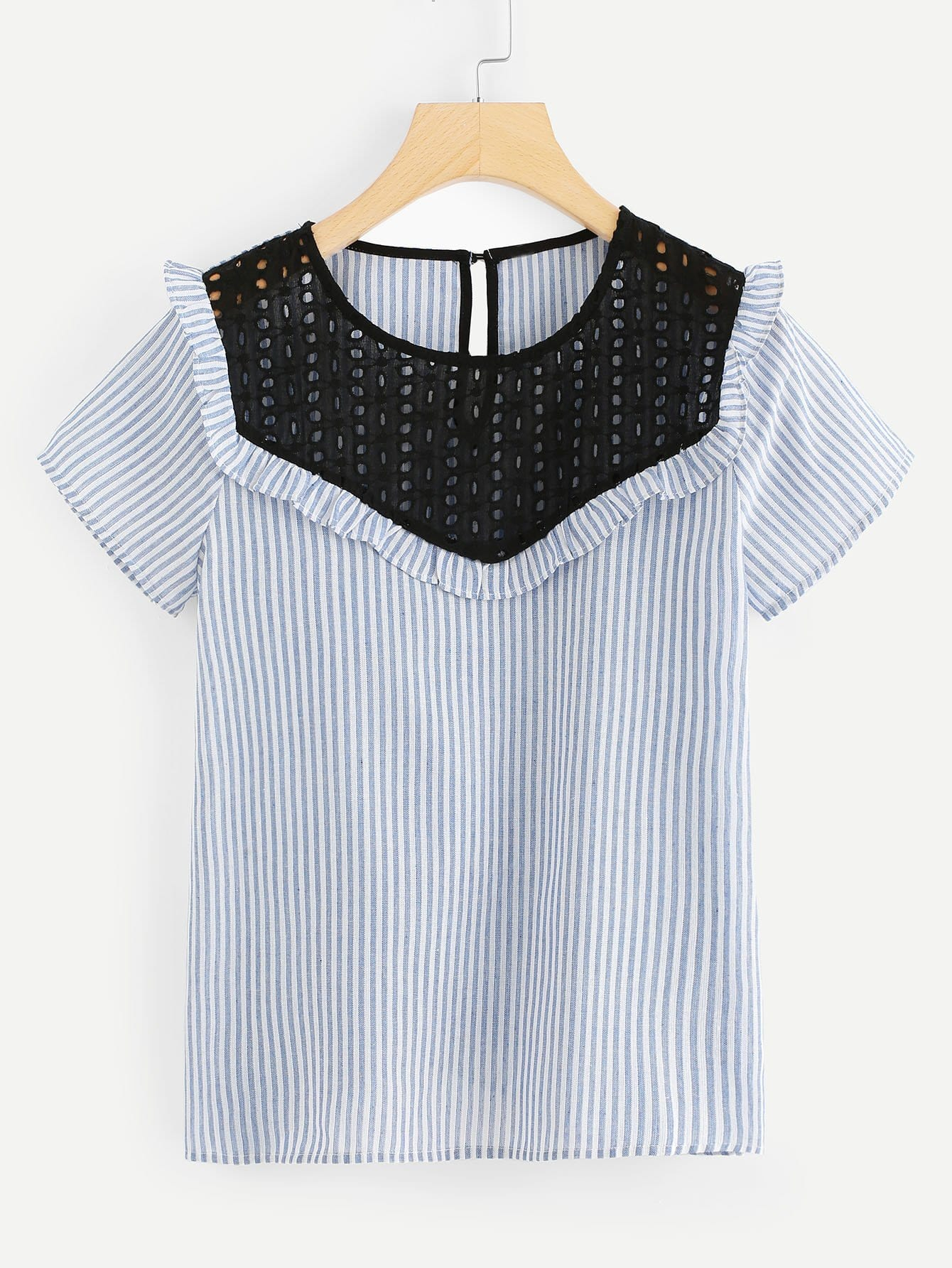 Contrast Eyelet Embroidered Yoke Striped Top contrast embroidered two tone plush top