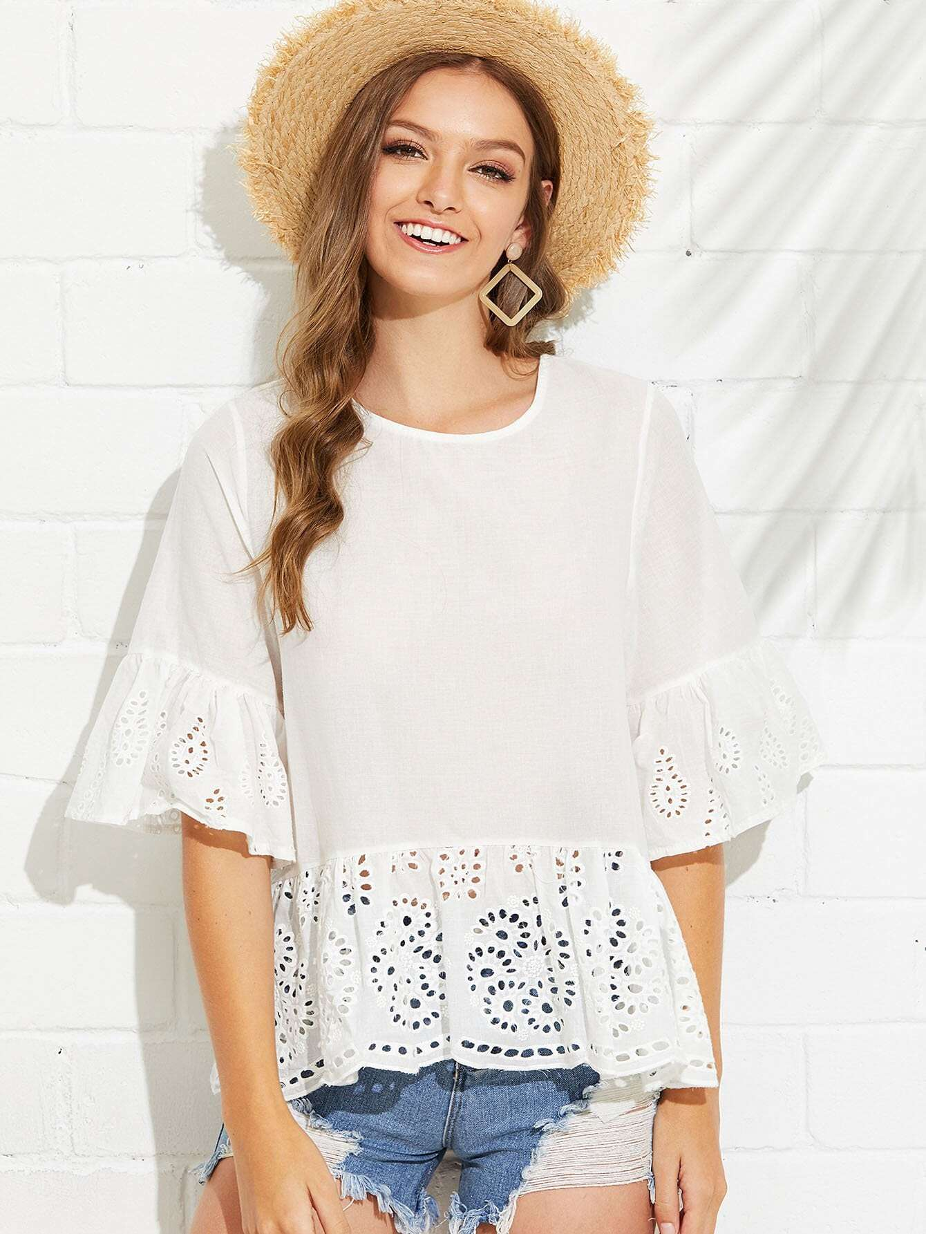 Bell Sleeve Eyelet Embroidered Ruffle Hem Top eyelet embroidery ruffle hem dress