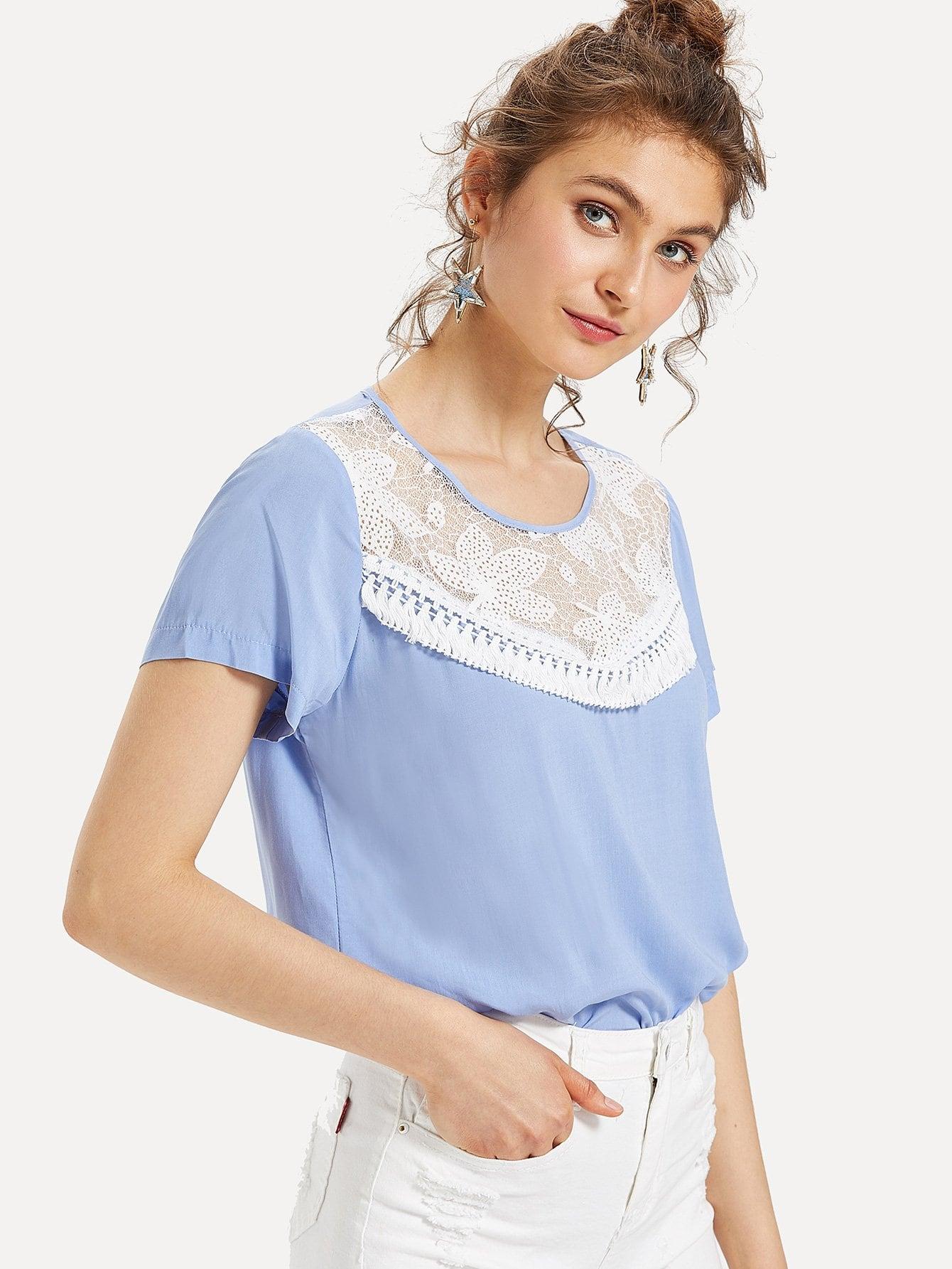 Lace Insert Tassel Embellished Top блузки a karina блузка