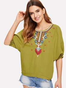 Embroidered Detail Bishop Sleeve Top