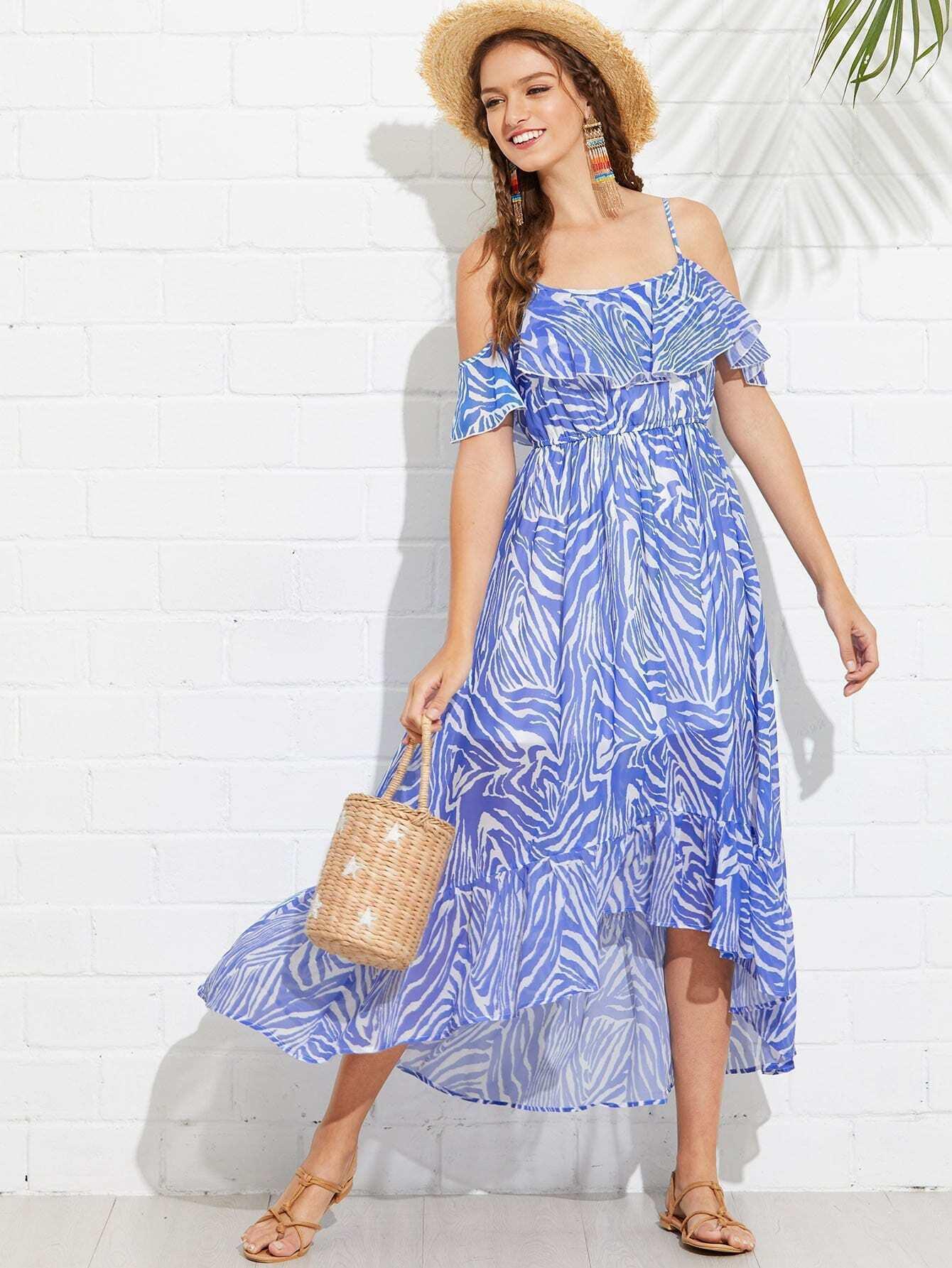 Shirred Waist Asymmetric Ruffle Hem Dress shirred waist zip back fit