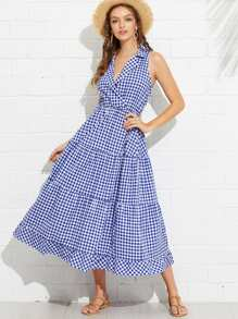 Collared Wrap Front Gingham Tiered Dress