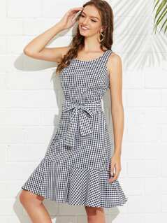 Self Tie Flounce Hem Gingham Dress