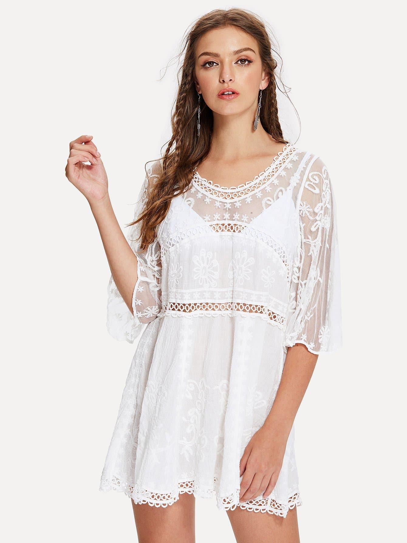 Купить Прозрачное платье с кружевами и вышивкой, Luiza, SheIn