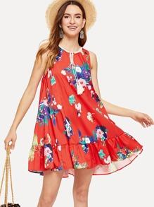 Lace Insert Tassel Tied Floral Dress