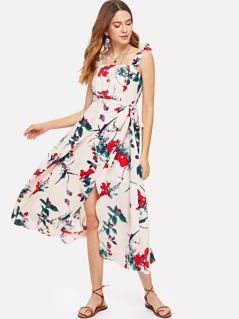 Knot Side Overlap Floral Dress