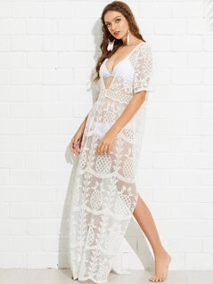 Plunging Neck Floral Lace Dress