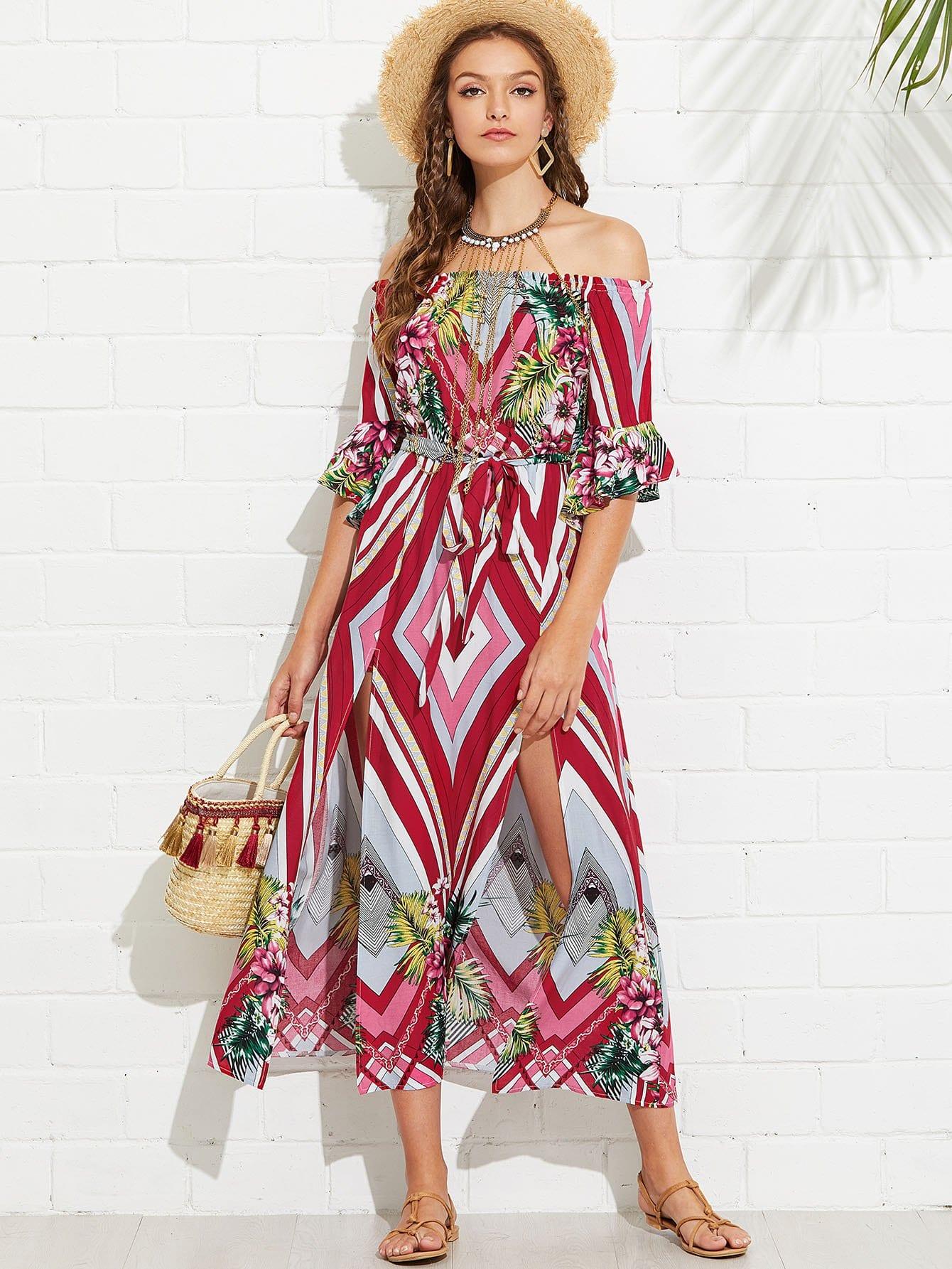 Flounce Sleeve Mixed Print Bardot Dress floral flounce bardot dress