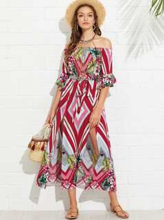 Flounce Sleeve Mixed Print Bardot Dress