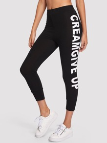 Letter Print Side Tapered Pants
