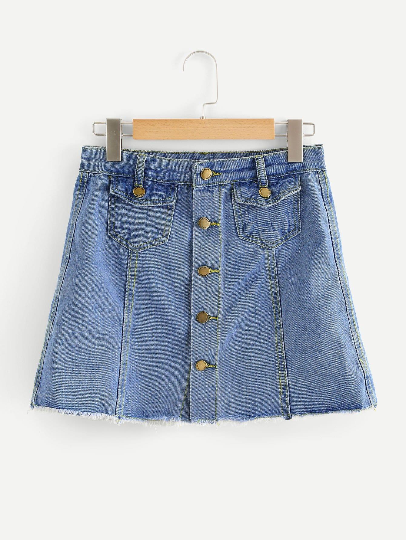Button Front Raw Hem Denim Skirt girls single breasted raw hem skirt