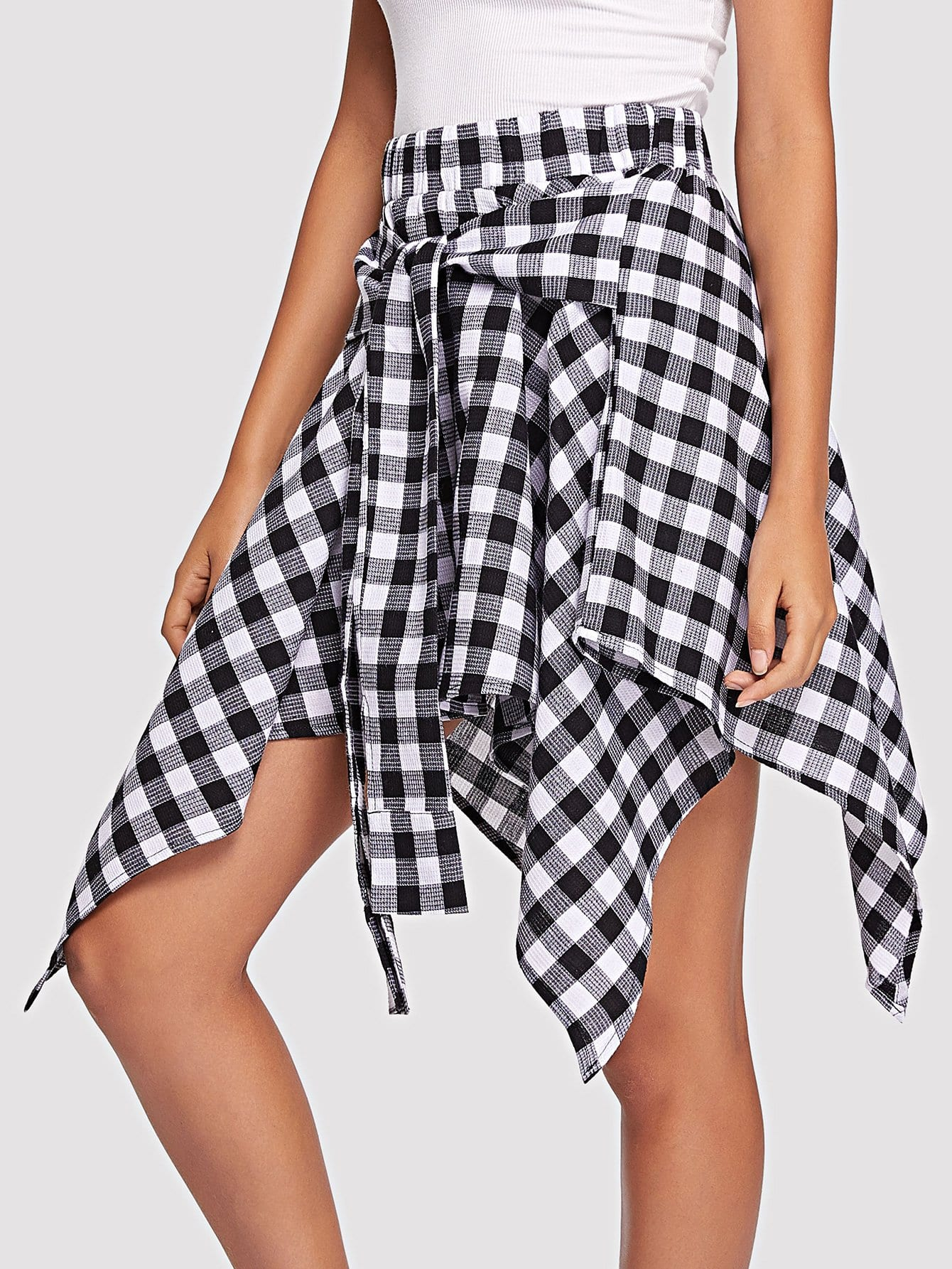 Knot Front Gingham Hanky Hem Skirt knot front gingham top