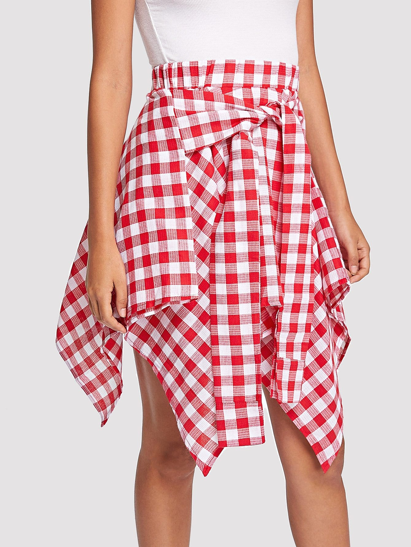 Knot Front Gingham Hanky Hem Skirt ruffle waist zip back scallop hem embroidered gingham skirt
