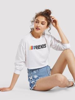 Drop Shoulder Letter Print Crop Sweatshirt