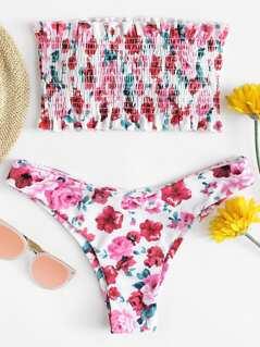 Floral Print Frill Shirred Bandeau Bikini Set