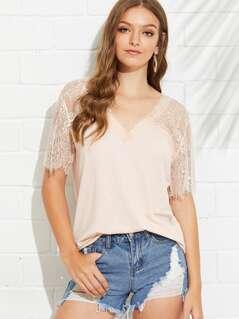 Floral Lace Shoulder T-shirt