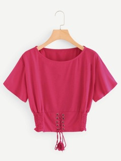 Neon Pink Corset Lace Up Detail T-shirt